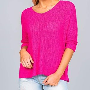 Charlotte Russe Hot Pink Loose Knit Sweater S